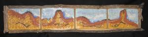 Ode to Abiquiu ceramic relief sculpture with cholla frame, $150.00